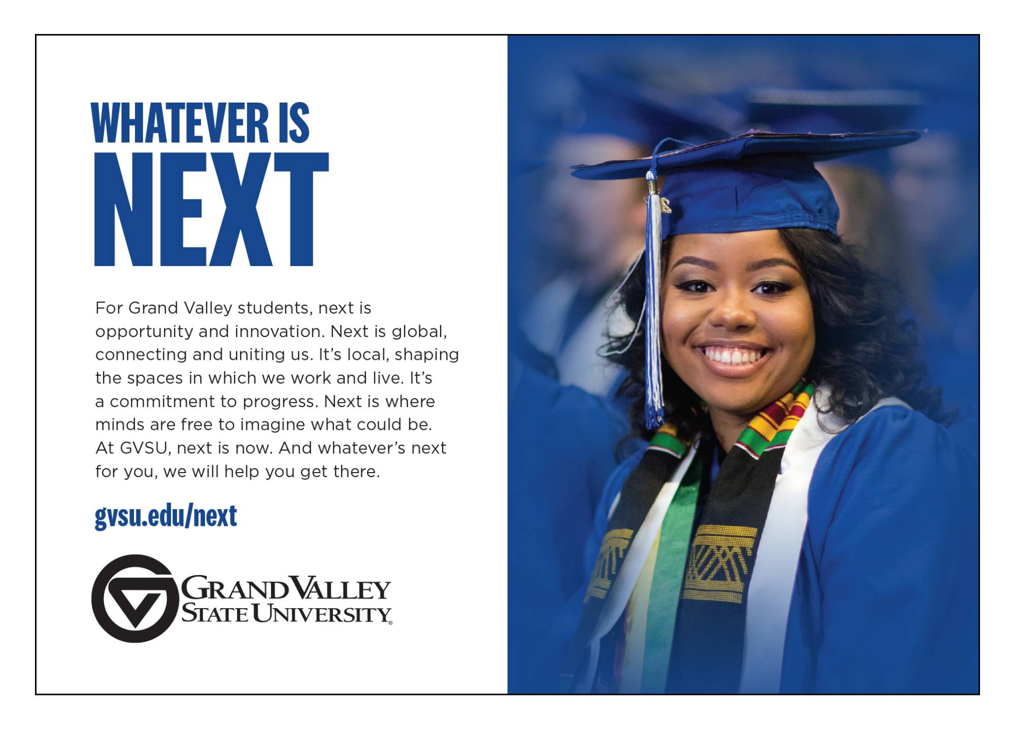 Advertisement example featuring a student in a cap and gown